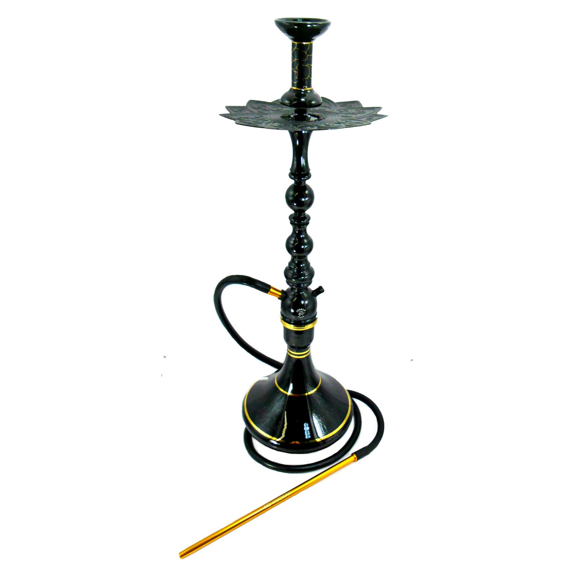 Narguile completo TIGER PRETO alumínio, dutado, híbrido (monte grande ou pequeno), vaso Aladin, mang. antichamas, 68cm.