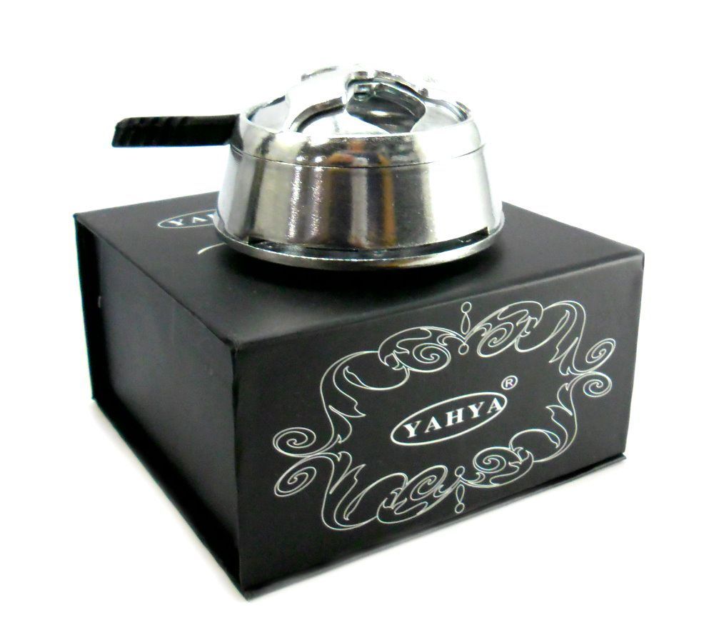 Narguile de alumínio, vaso Ball transp., rosh octa, controlador (Kaloud) Yahya, fogareiro e carvão 1kg.