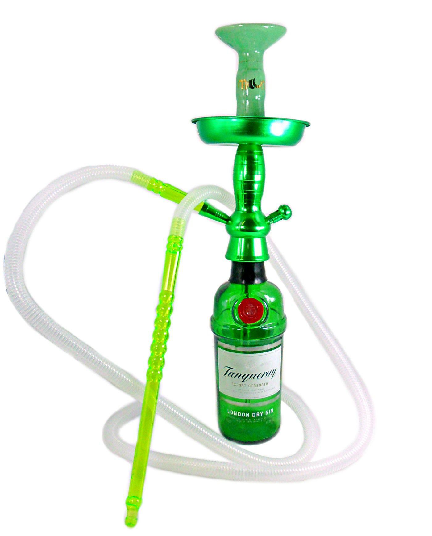 Narguile de garrafa 50cm: Stem alumínio verde+ prato 13cm+ rosh Moon verde e dourado + garrafa Gin inglês.