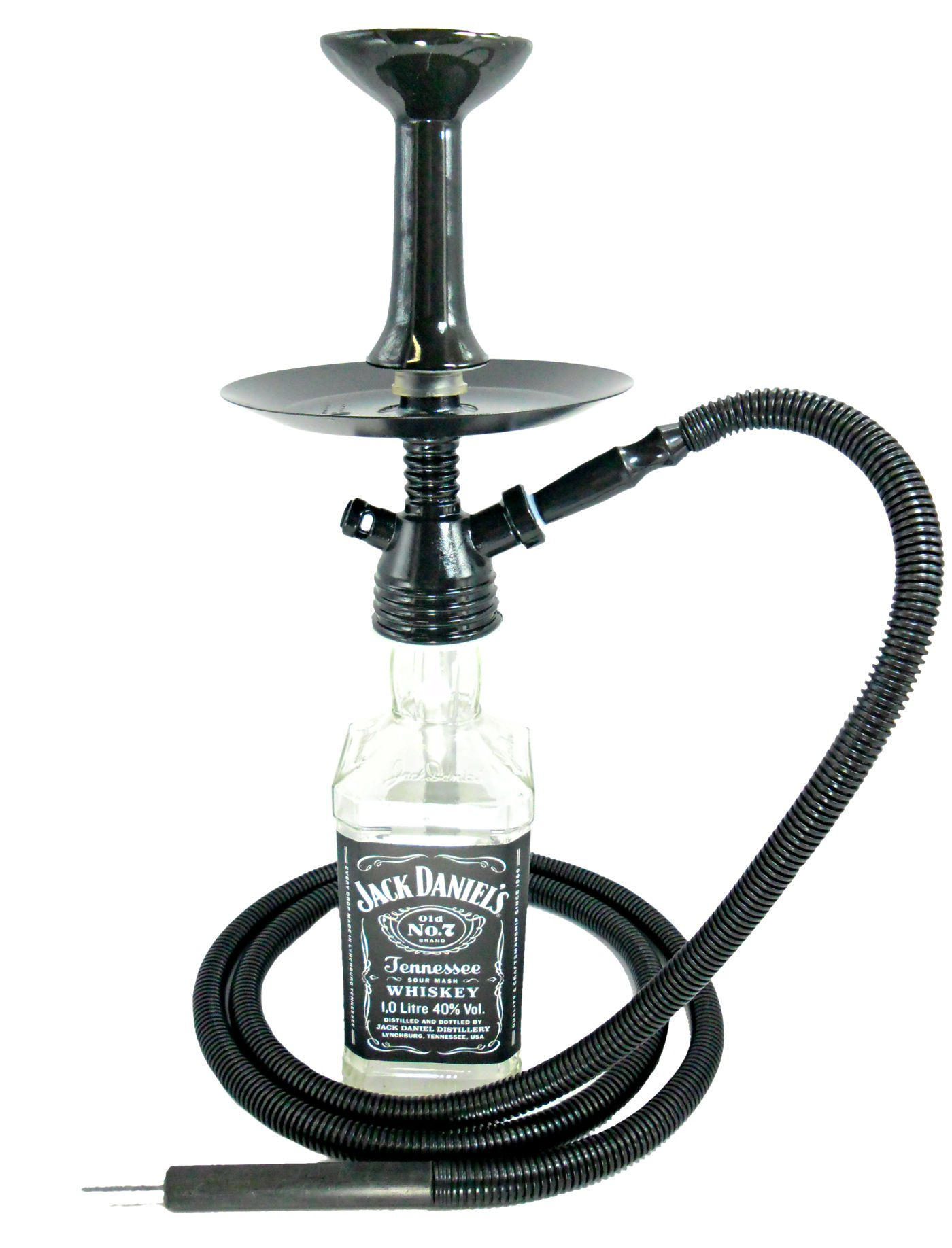 Narguile de garrafa completo FULGORE, com garrafa Jack Daniel's tradicional.