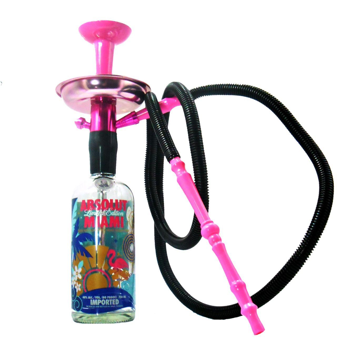 Narguile de garrafa NEW ROSA P: Stem, prato, rosh preto, mangueira e garrafa vazia ABSOLUT MIAMI