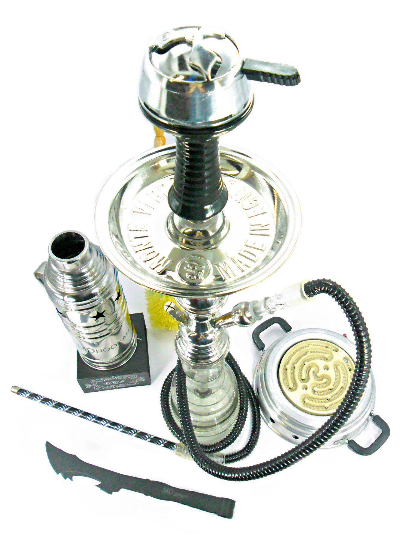 Narguile Egípcio 59cm. Kit com rosh Flux Bowl, abafador, controlador Yahya, pinça, fogareiro elétrico.