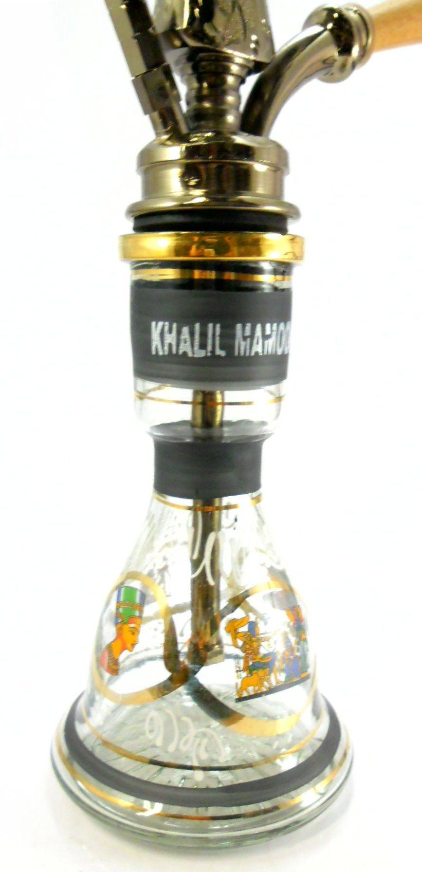 Narguile Egípcio KHALIL MAMOON KAMANJA BLACK, 56cm, vaso COM LISTRA PRETA pintado a mão.