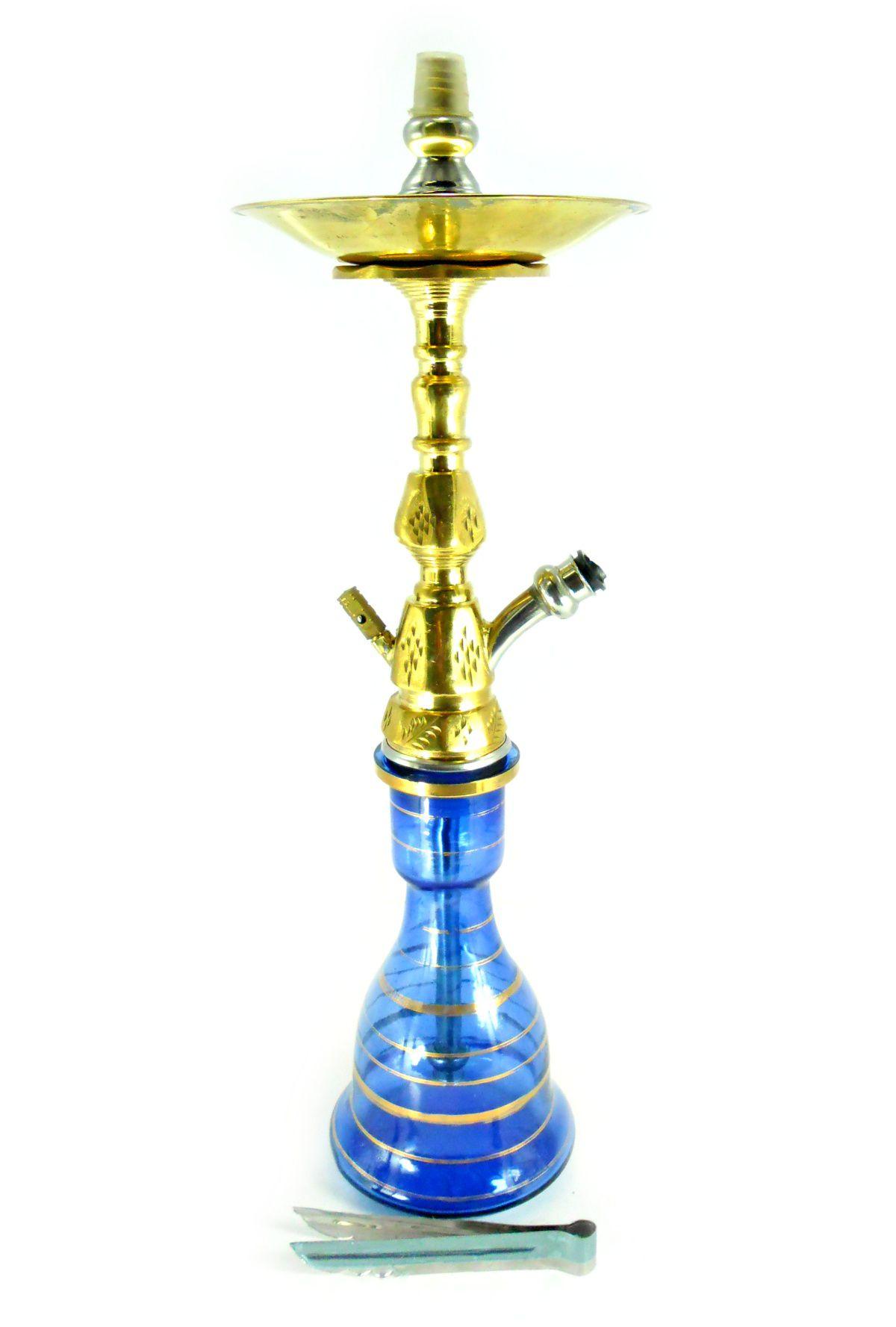 Narguile Egípcio PASHA KAMANJA 59cm, vaso azul, fornilho artesanal, SEM MANGUEIRA.
