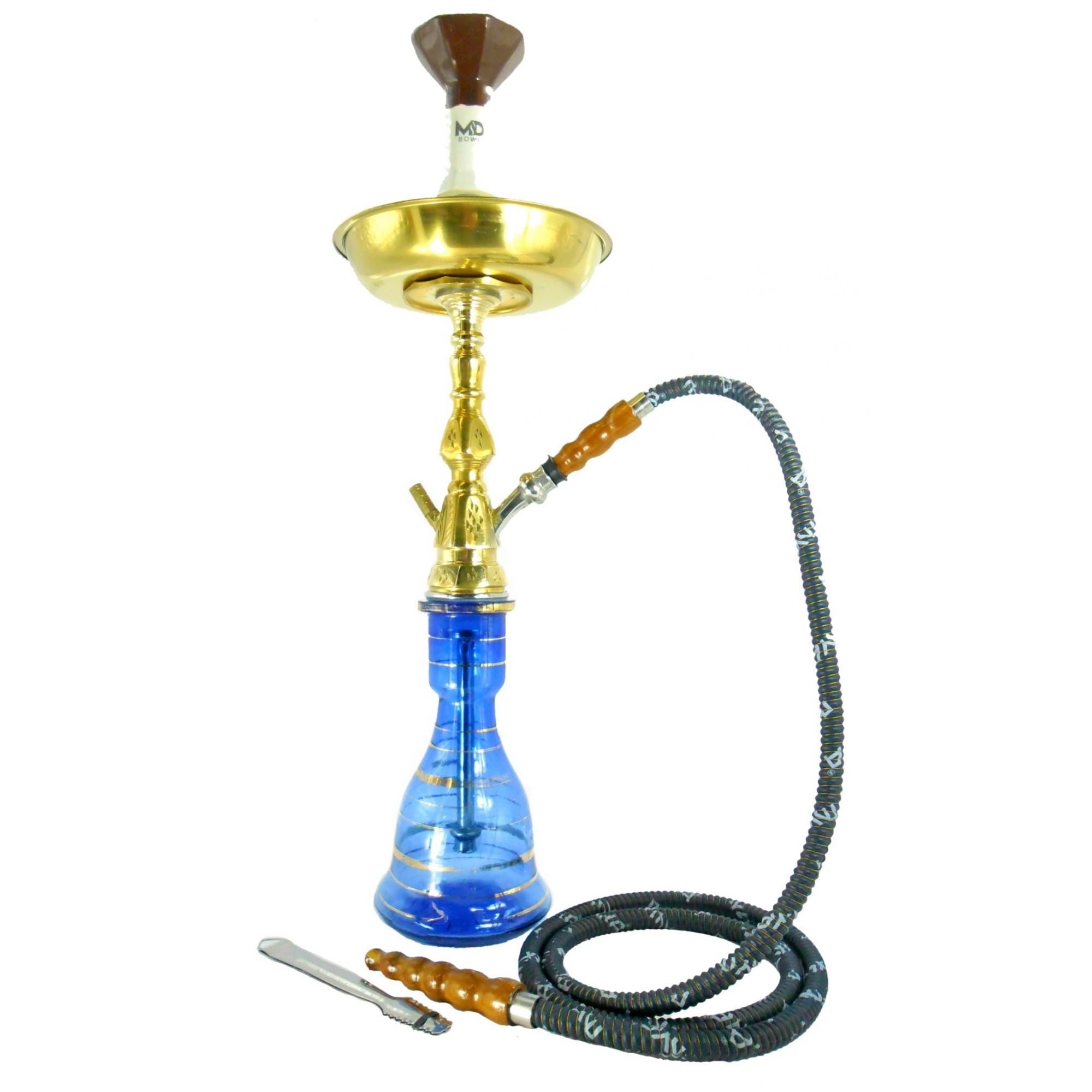 Narguile Egípcio PASHA KAMANJA 59cm, vaso azul, prato dourado, fornilho OCTA e mangueira de couro.