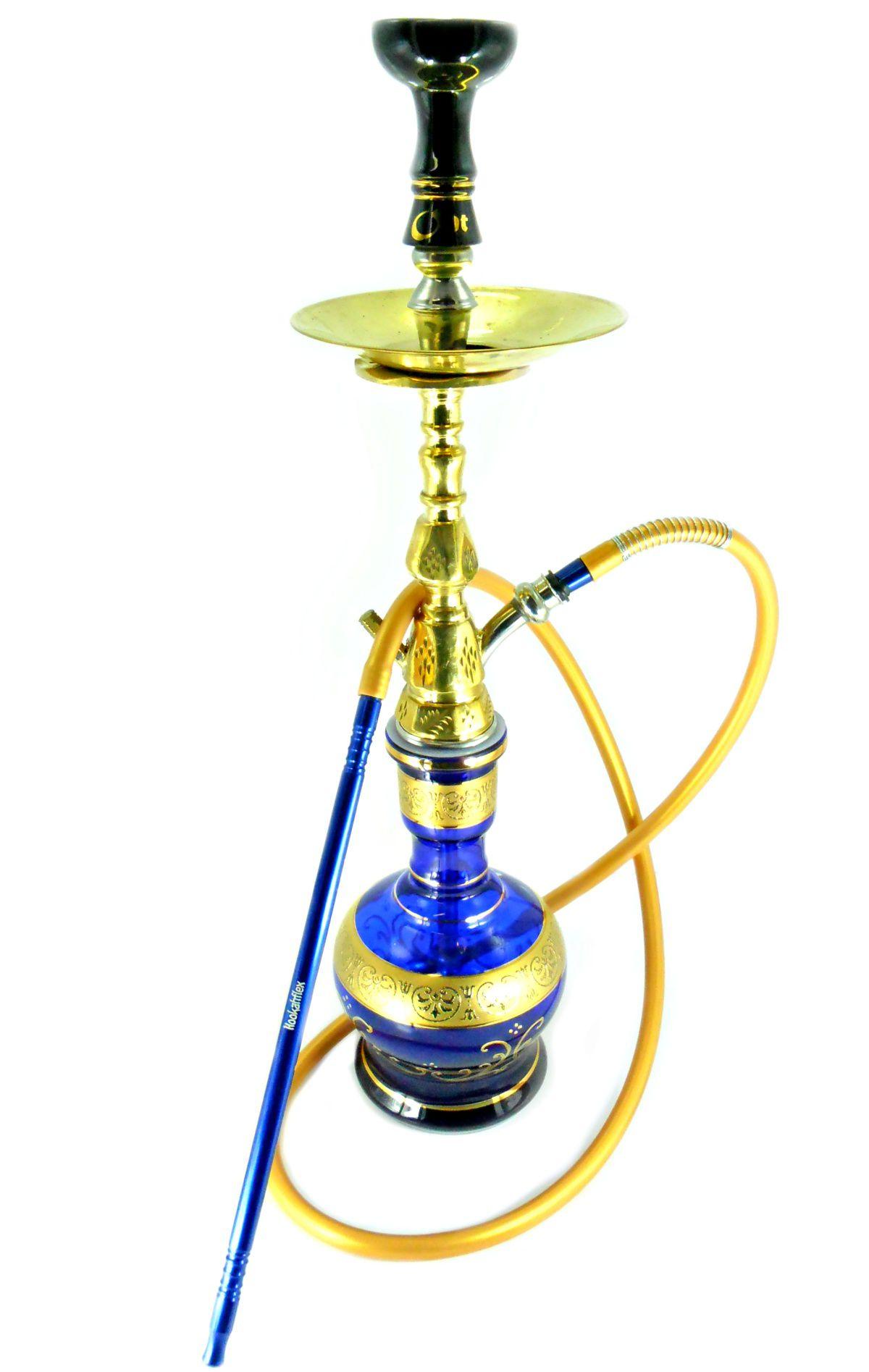 Narguile Egípcio PASHA KAMANJA 63cm, vaso Jumbo faixa grega, rosh OHT Gold e mangueira silicone, piteira alum.