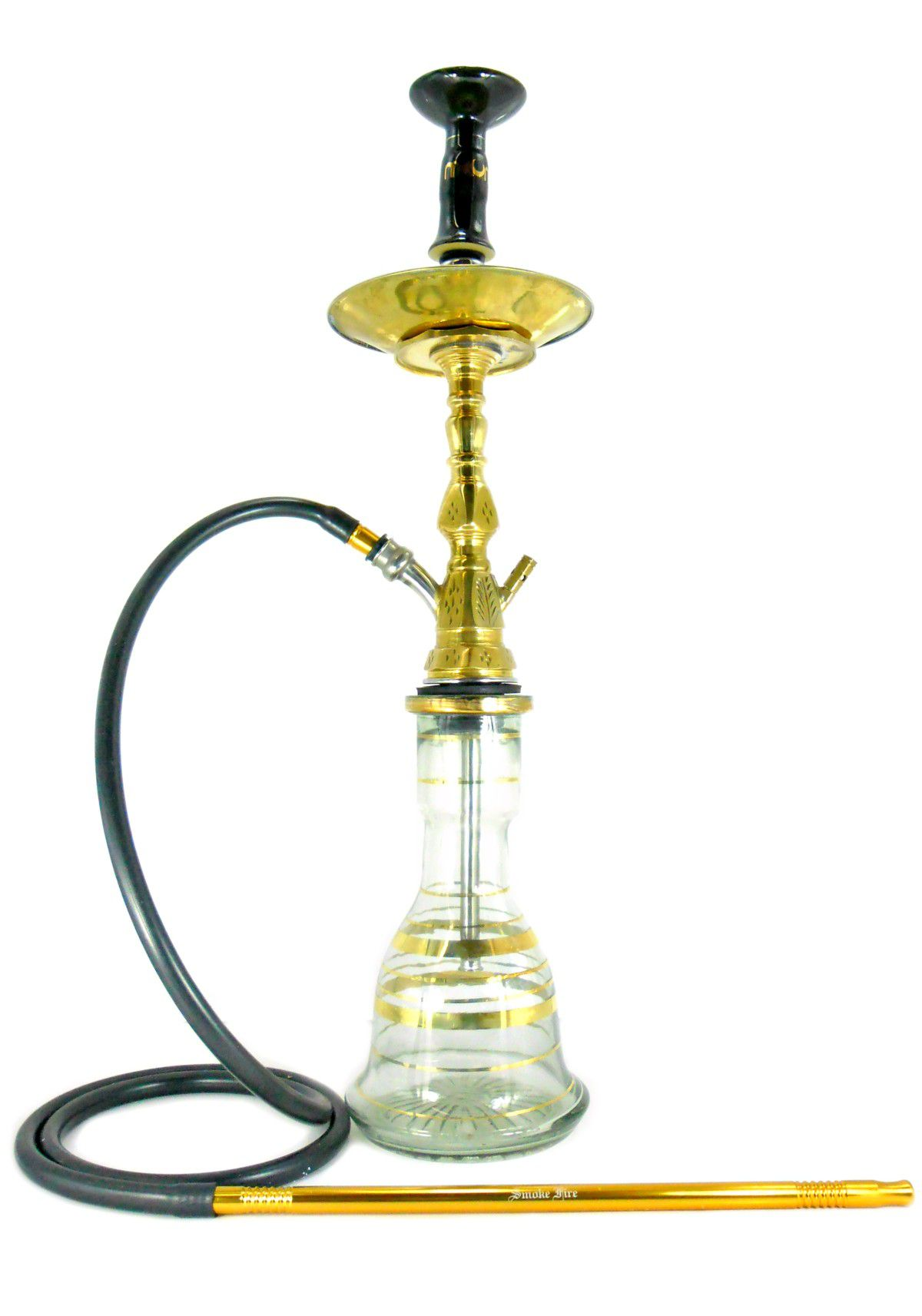 Narguile Egípcio PASHA KAMANJA 65cm, vaso transparente, fornilho preto e dourado, e mangueira silicone, piteira aluminio