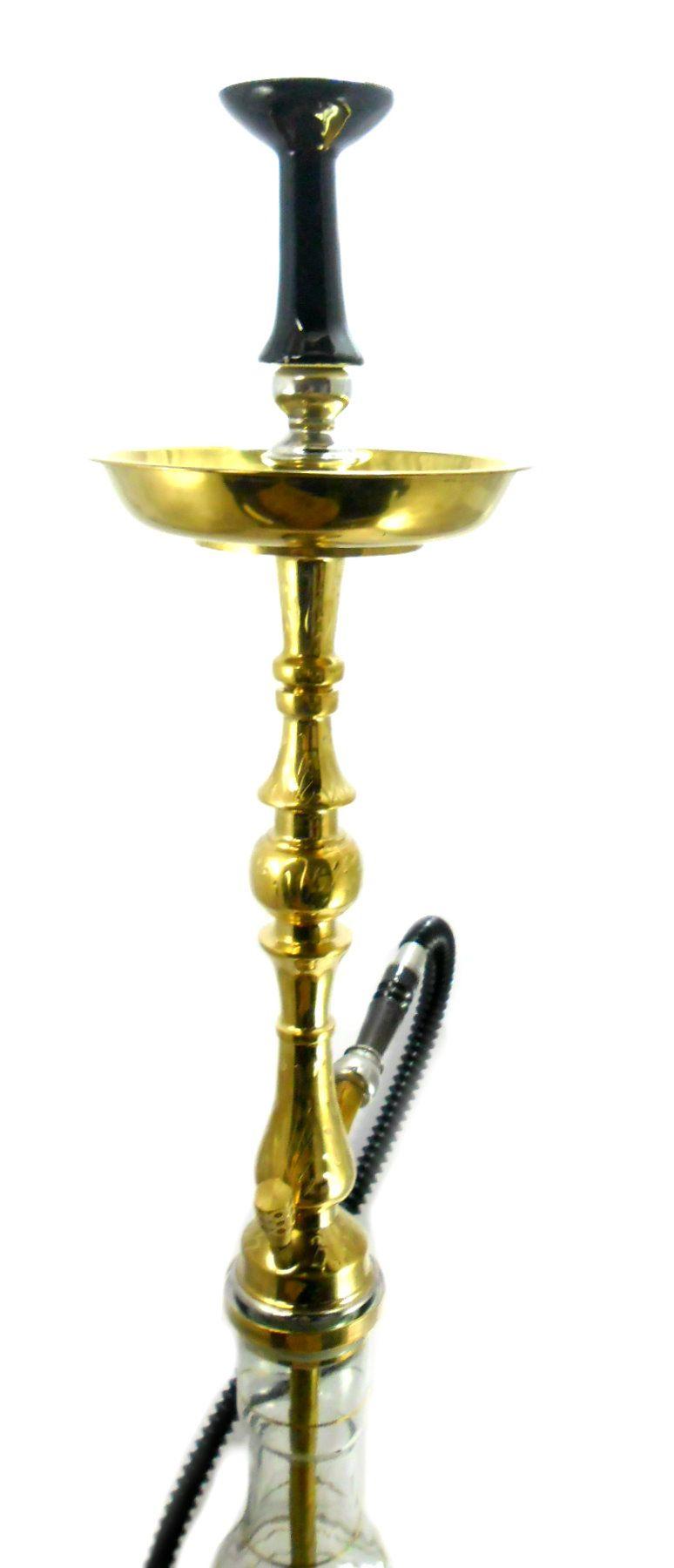 Narguile Egípcio YAHYA A55 bronze dourado, extra-grande (89cm), mangueira extensível,rosh Flux preto