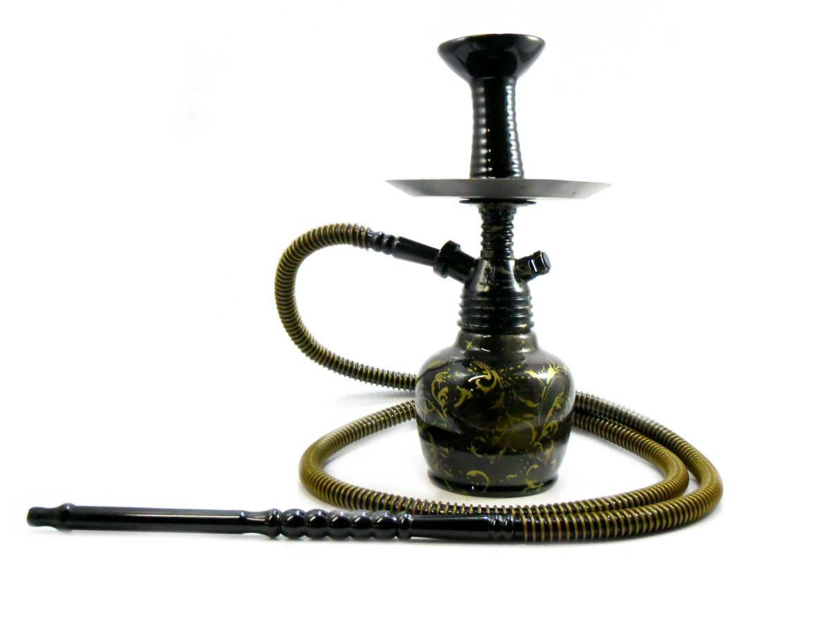 Narguile Fulgore PRETO ARABESCOS DOURADO. Stem em polipropileno, vaso em vidro, com rosh. 34cm.