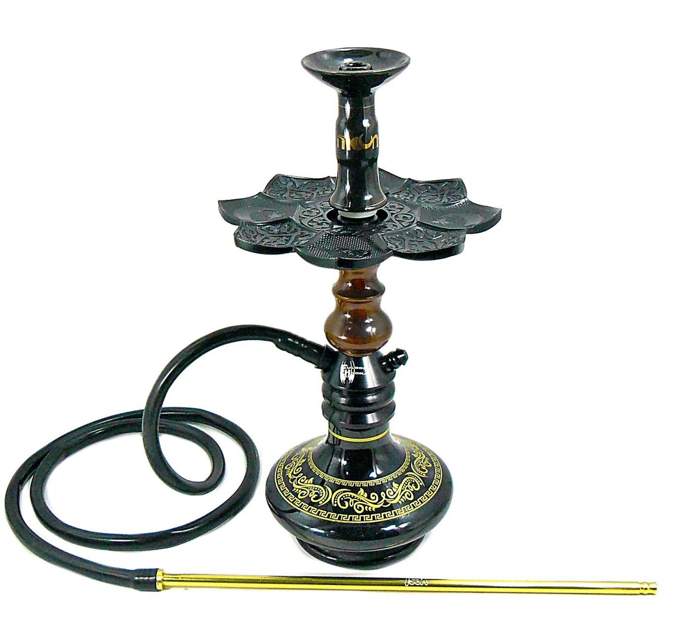 Narguile Fulgore Pro Preto, vaso Aladin preto e dourado, mang.silicone, piteira alumínio dour, rosh Kimo, prato El Nefes