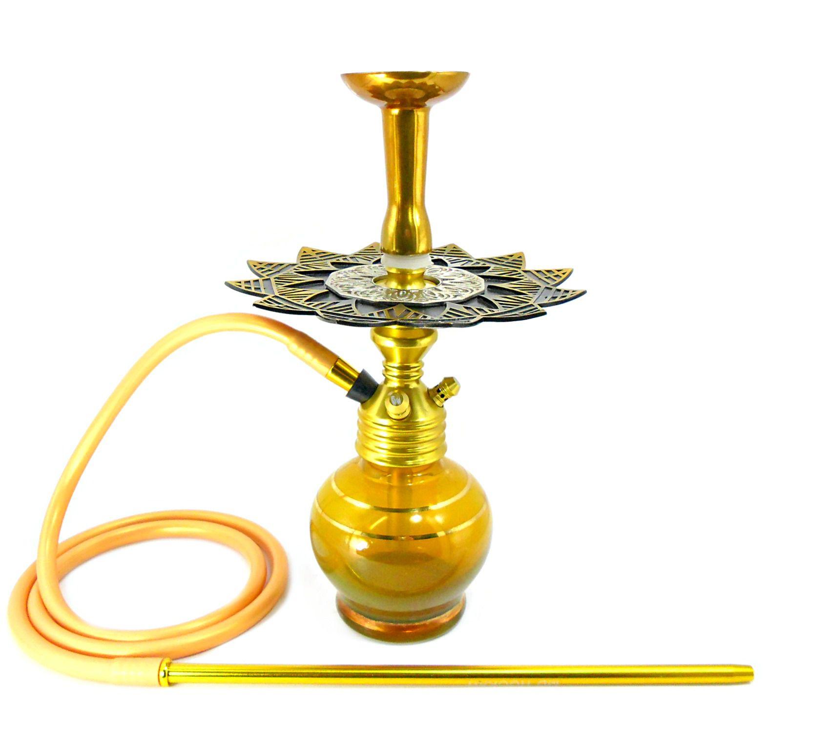Narguile Fulgore X Dourado, vaso Kimo Ball, prato Ébano, mangueira silicone, piteira e rosh de alumínio dourado