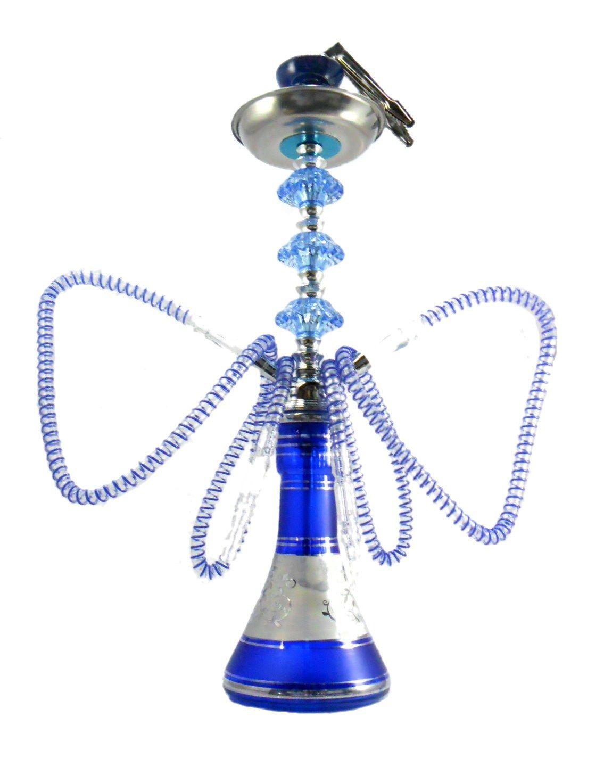 Narguile Grande 59cm azul e cromado, pinça especial, alumínio, fogareiro elétrico e carvão de coco.