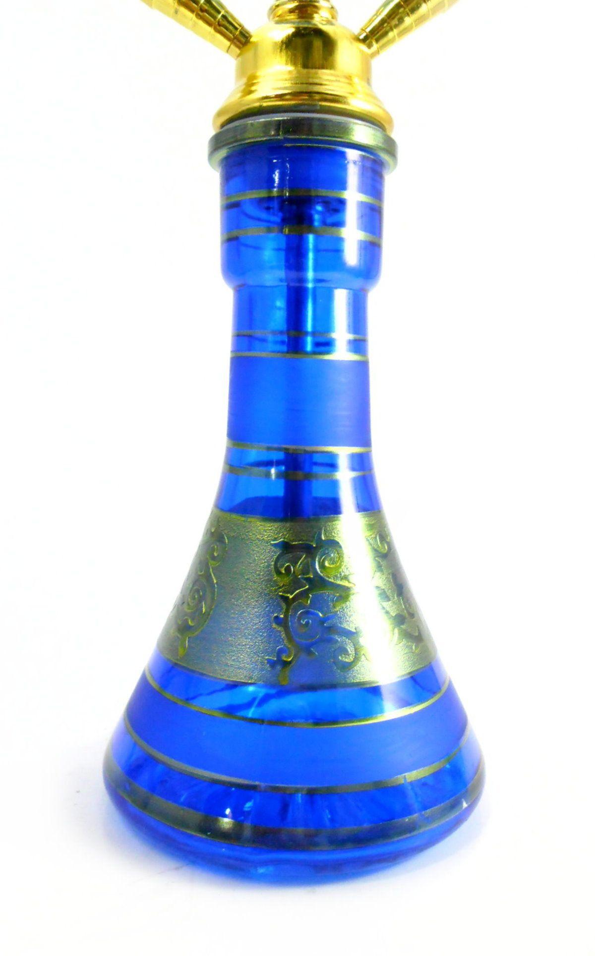 Narguile Grande 59cm azul e dourado, controlador, pinça especial, fogareiro elétrico e carvão de coco.