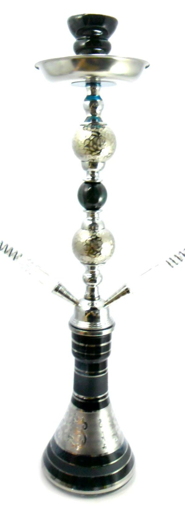 Narguile Grande 59cm preto e cromado, abafador, pinça especial, fogareiro elétrico e carvão de coco.