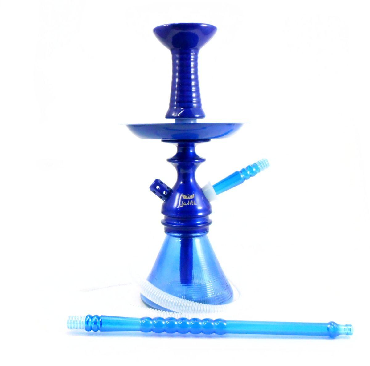 Narguile JUDITH AZUL METÁLICO 33cm, vaso Petit AZUL, mangueira lavável, fornilho Flux Bowl Azul e prato pintado.