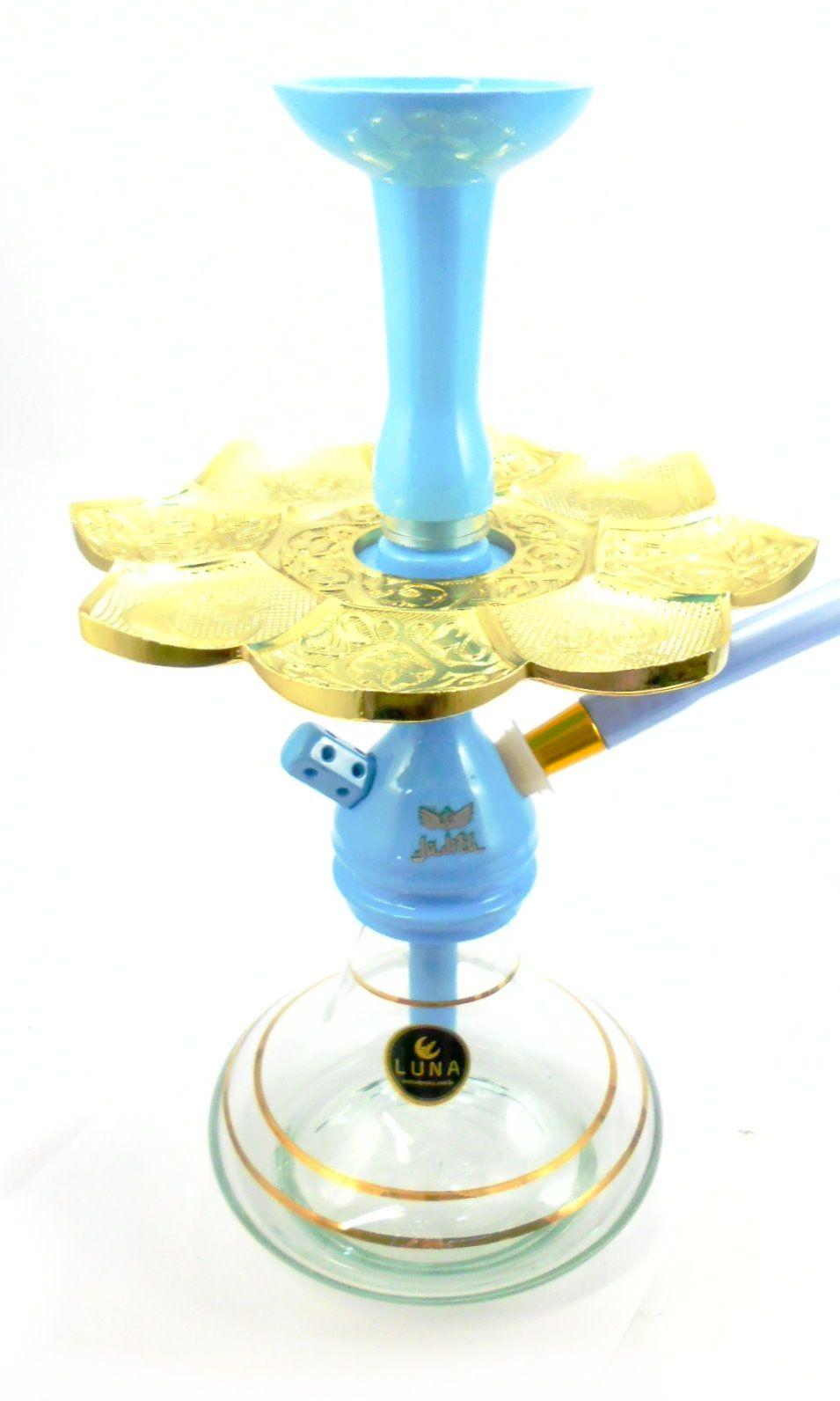 Narguile JUDITH AZUL CLARO 36cm. Vaso LISTRA DOURADA, mangueira SILICONE, rosh e piteira de alumínio, prato dourado.