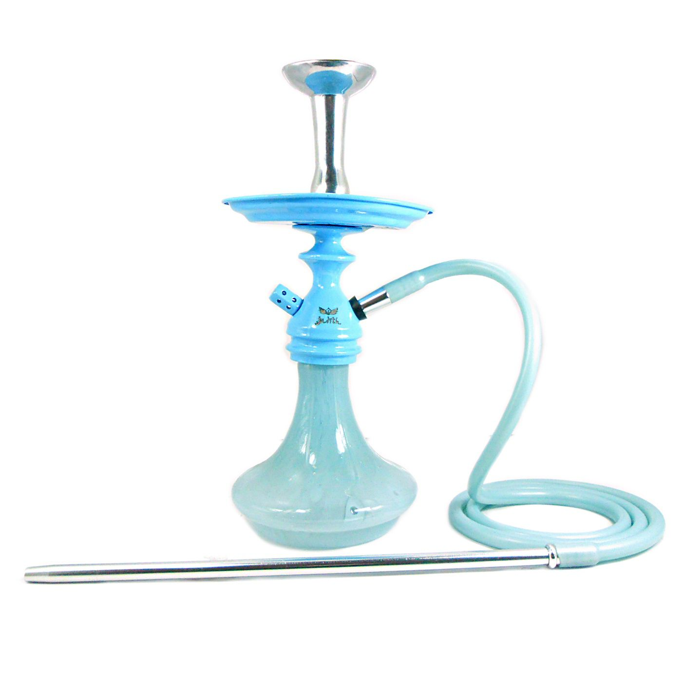 Narguile Judith Azul Claro, mangueira silicone, rosh e piteira alumínio, prato Judith, vaso Aladin.