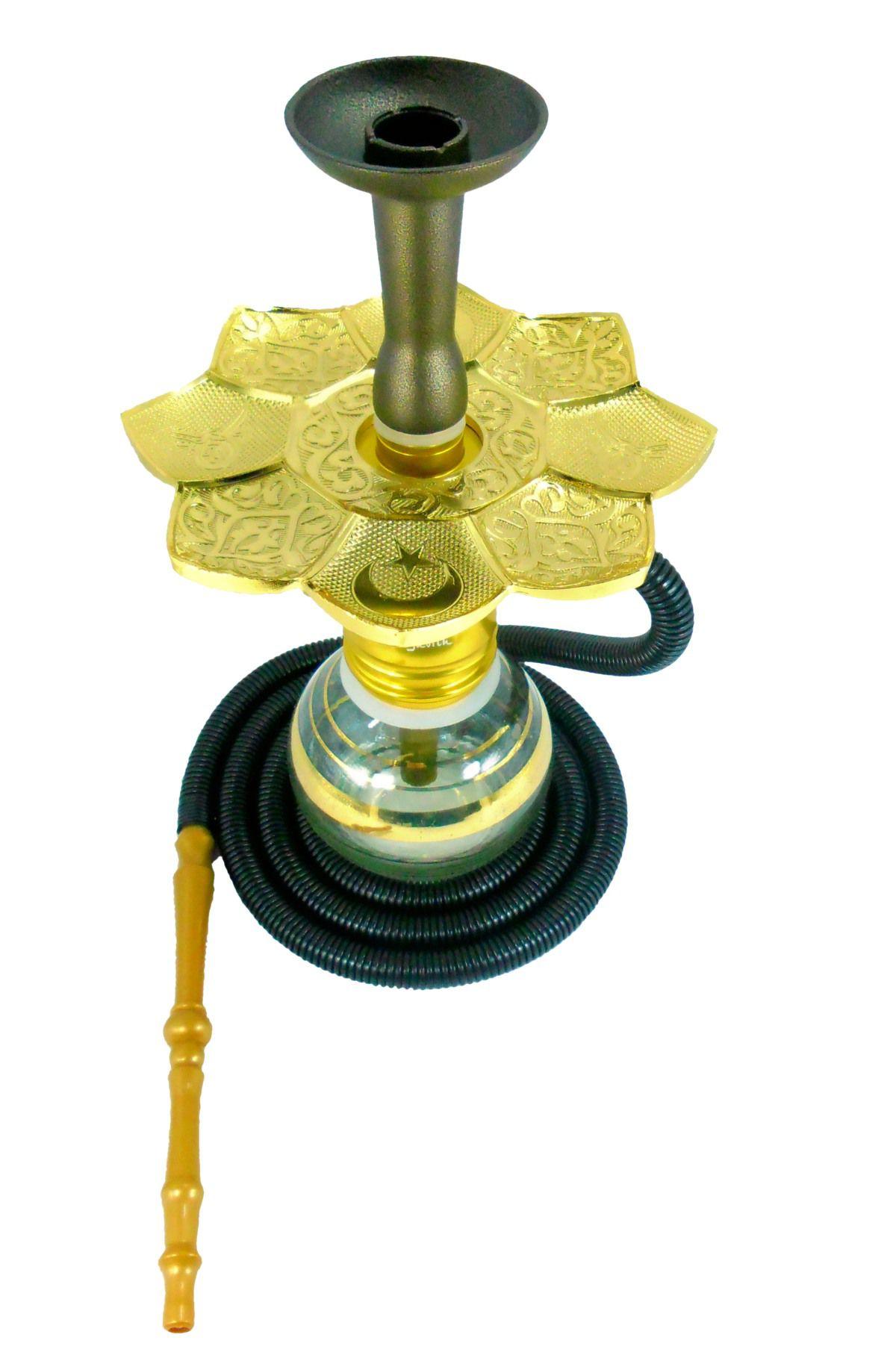 Narguile JUDITH DOURADO 34cm, vaso LISTRA DOURADA, mangueira GO HOSE, fornilho alumínio, prato dourado.