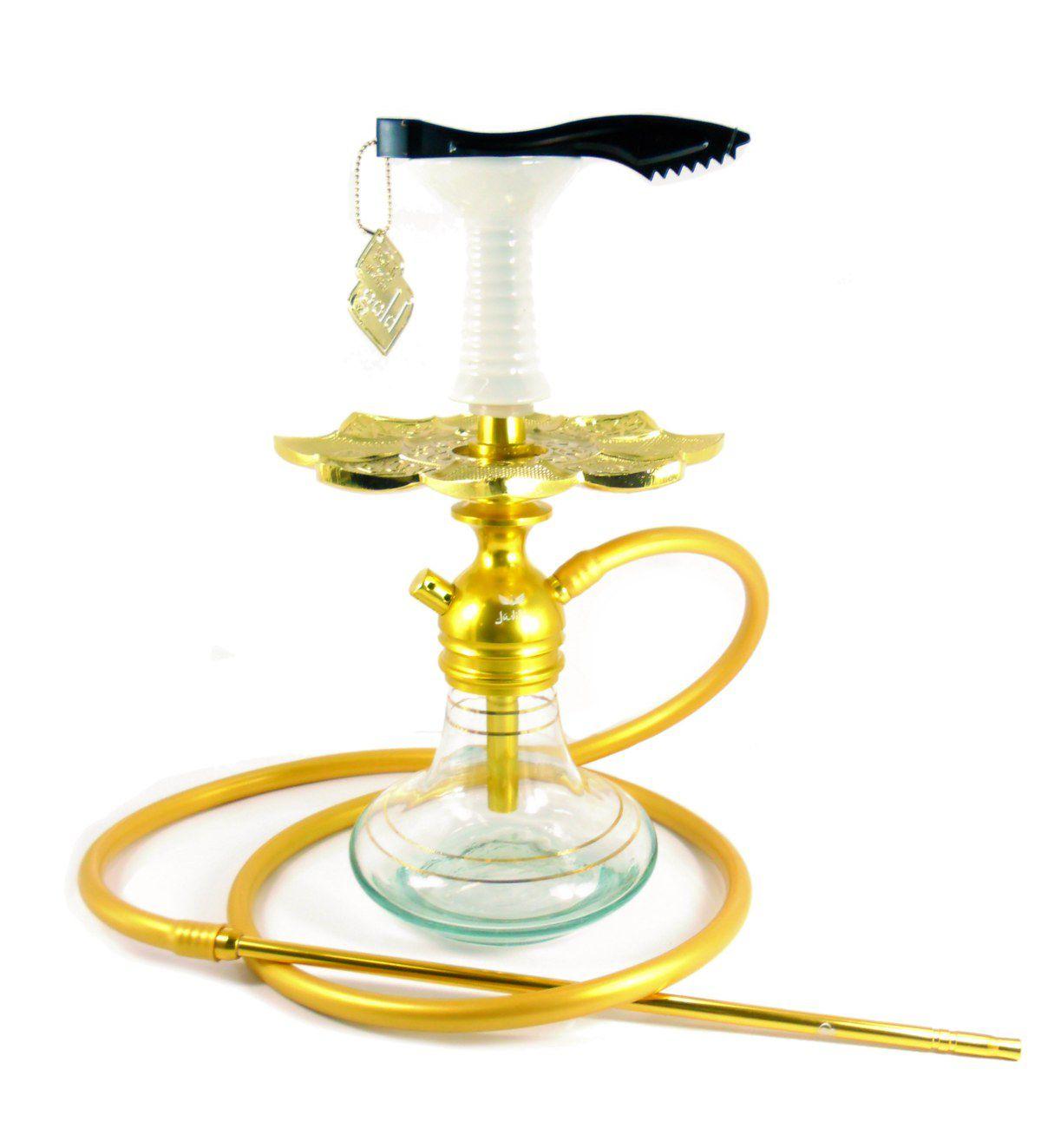 Narguile Judith DOURADO, vaso Aladin, mangueira silicone, piteira alumínio, prato dourado e rosh.