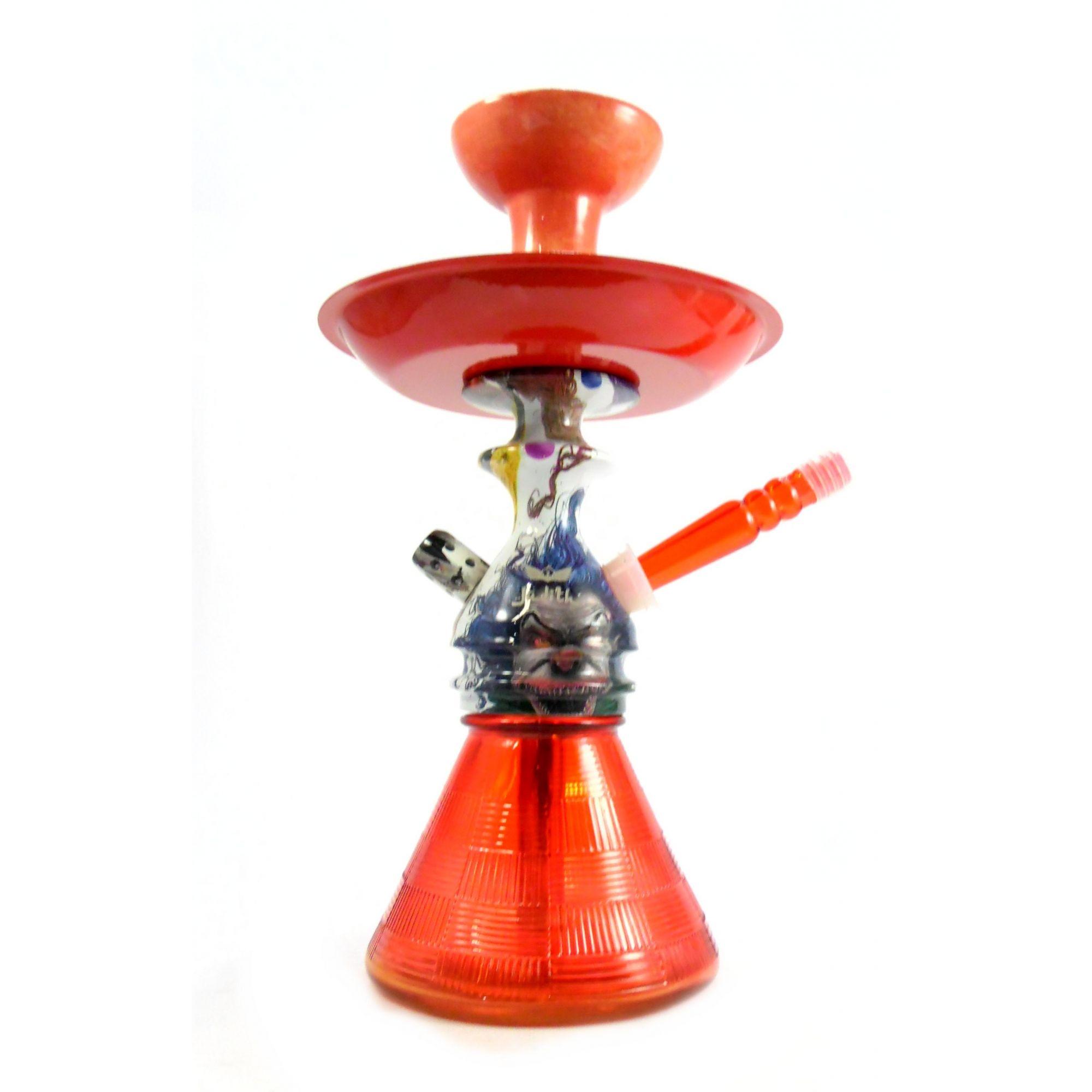 Narguile JUDITH EVIL CLOWN 33cm. Vaso Petit Vermelho, mangueira MD Hose Vermelha, prato pintado Verm., Fornilho Fulgore