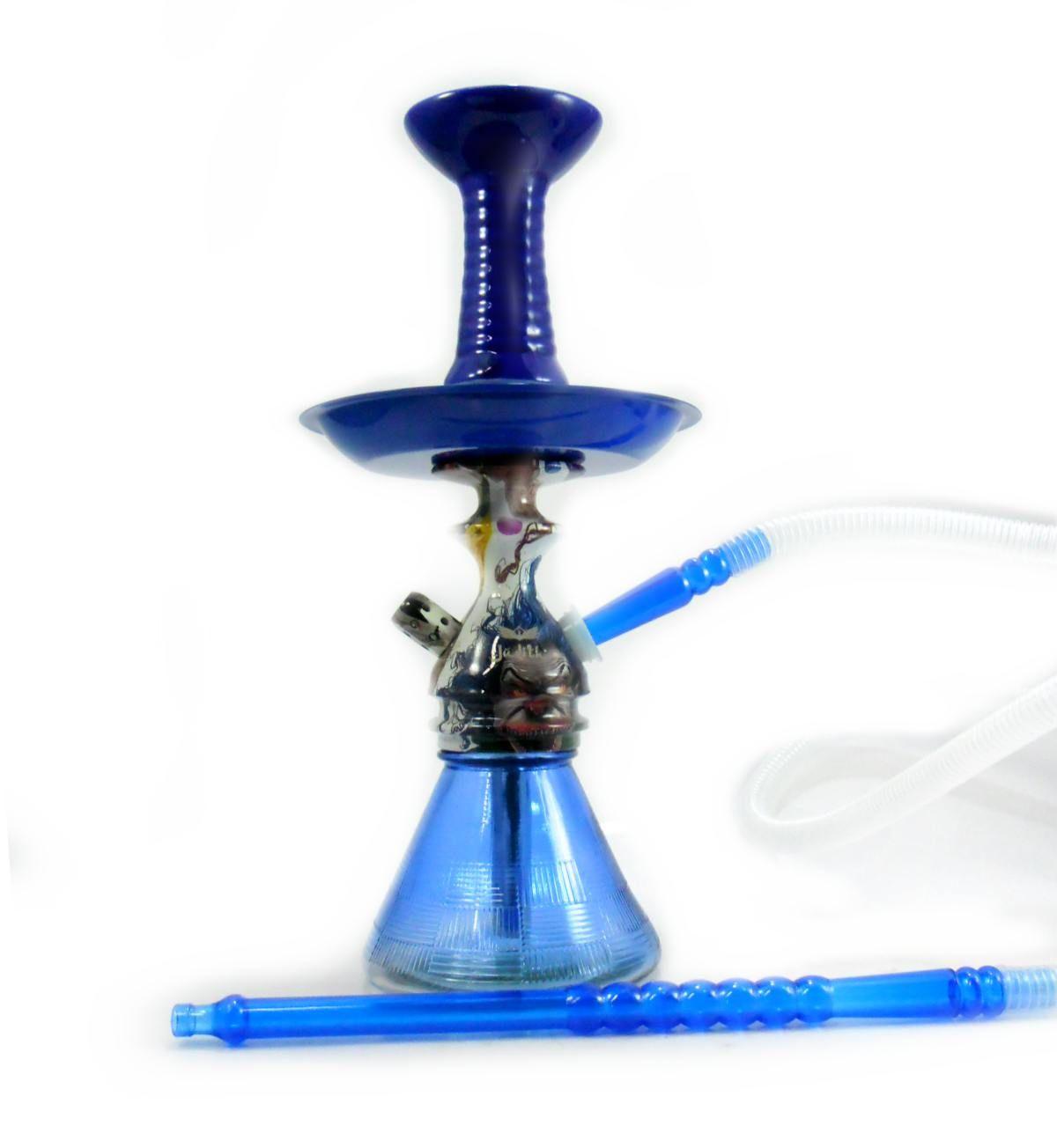 Narguile JUDITH EVIL CLOWN 33cm. Vaso Petit Azul, mangueira MD Hose Transparente, prato pintado Azul, Fornilho Octa Azul