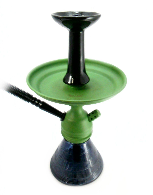 Narguile JUDITH VERDE 33cm, vaso Petit preto, mangueira MD BLACK, fornilho FLUX BOWL PRETO, prato Judith Verde.
