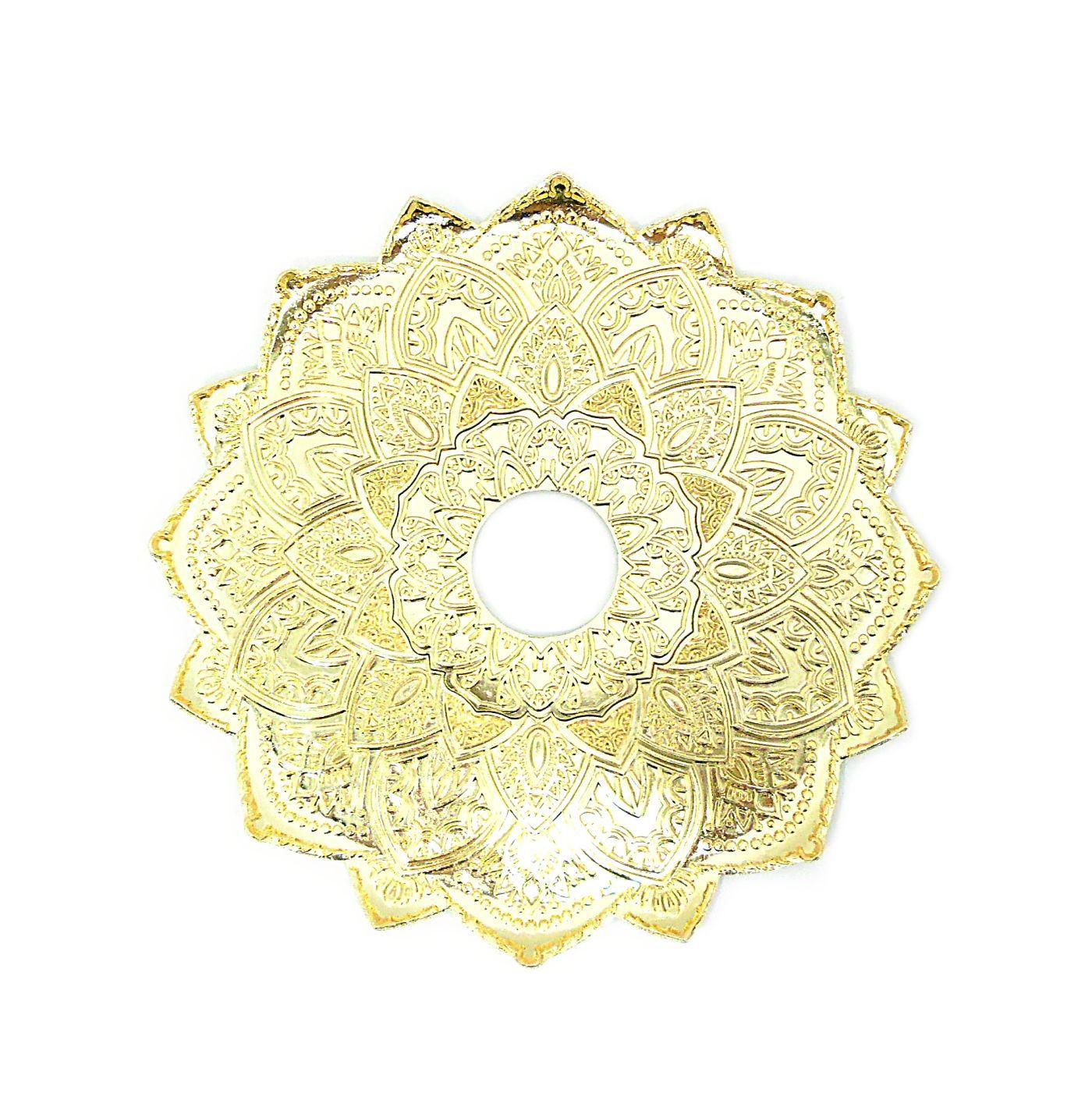 Narguile Mani Sultan Dourado 85cm, vaso Aladin, mang. silicone, piteira de alumínio, rosh Pro Hookah, prato Malik