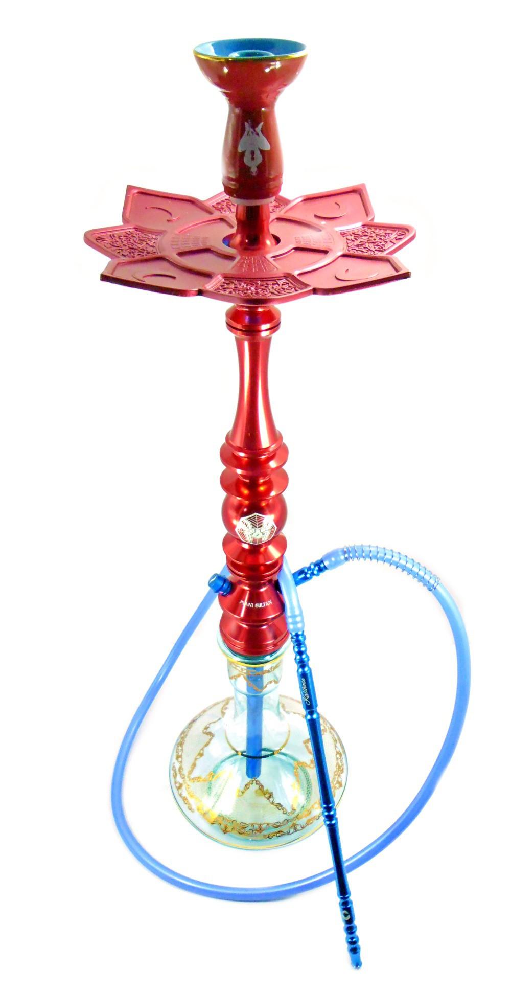 Narguile Mani Sultan SPYDER MANI 85cm, vaso Aladin, mang. silicone, piteira de alumínio, rosh HOMEM ARANHA, prato MOON