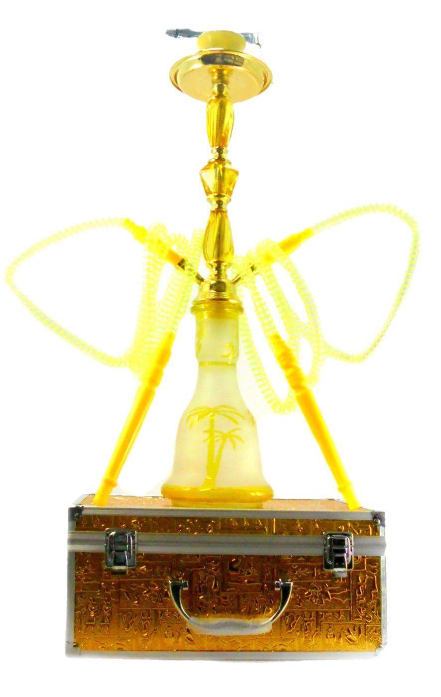 Narguile MD Hookah 55cm C/ MALETA. Duas mangueiras, vidro AMARELO jateado, corpo dourado AB542SMALAM