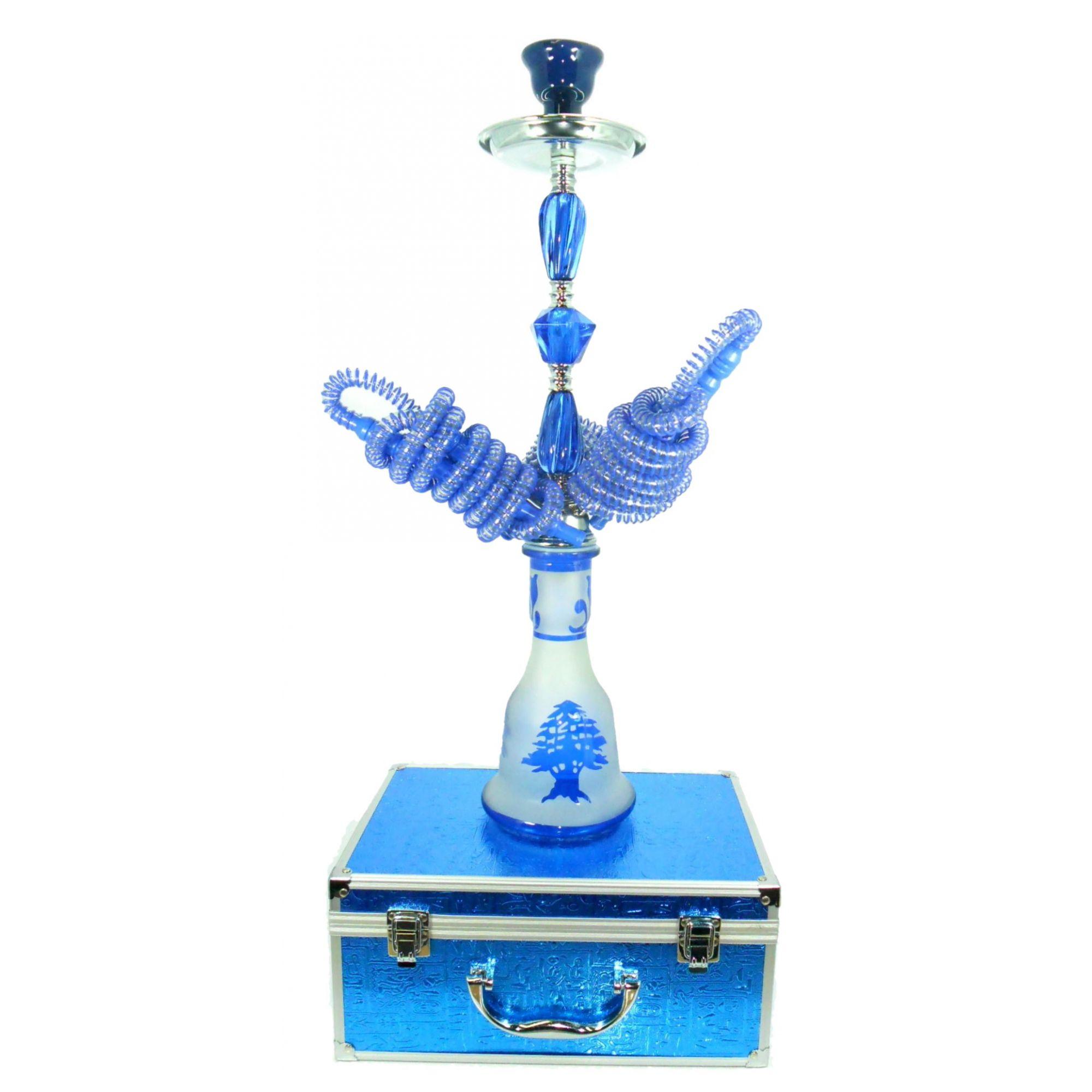Narguile MD Hookah 55cm COM MALETA. Três mangueiras, vidro AZUL jateado, corpo cromado AB543SMALAZ
