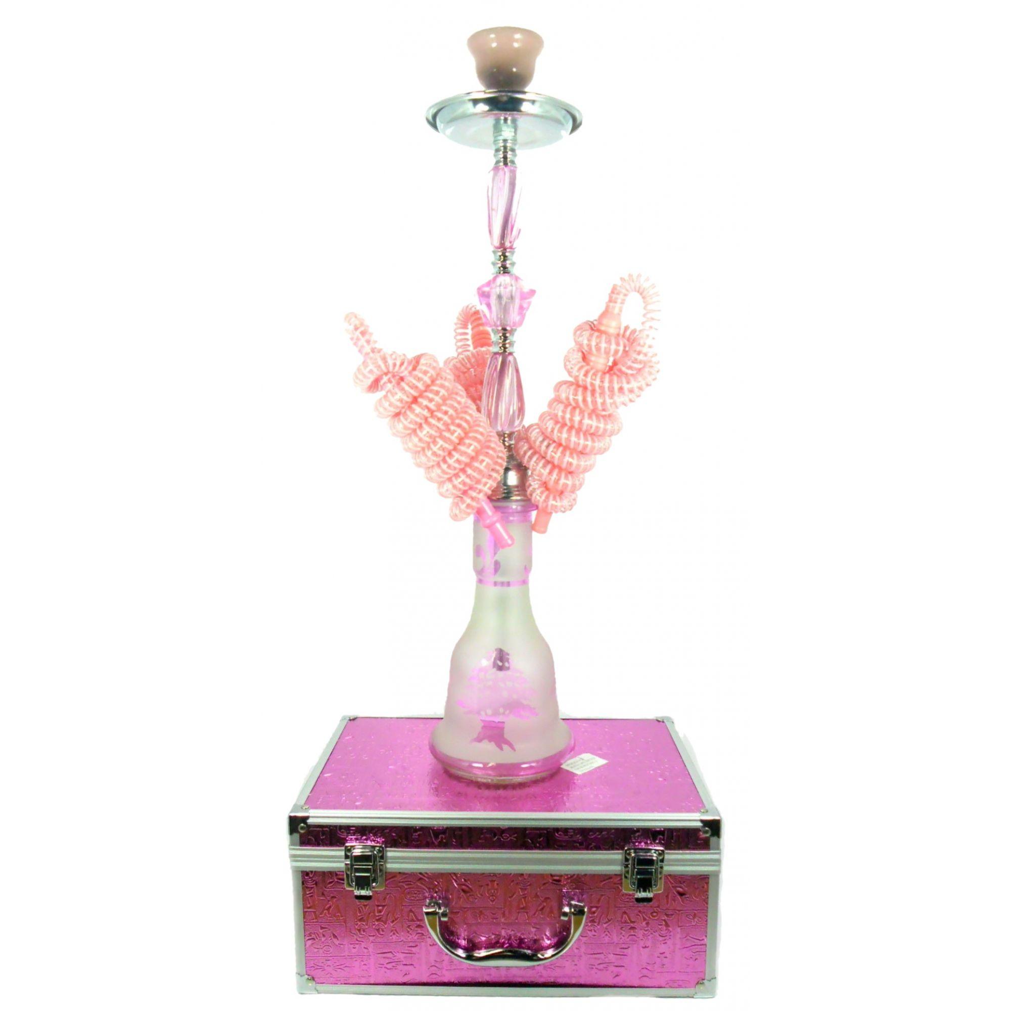 Narguile MD Hookah 55cm COM MALETA. Três mangueiras, vidro ROSA jateado, corpo cromado AB543SMALRS