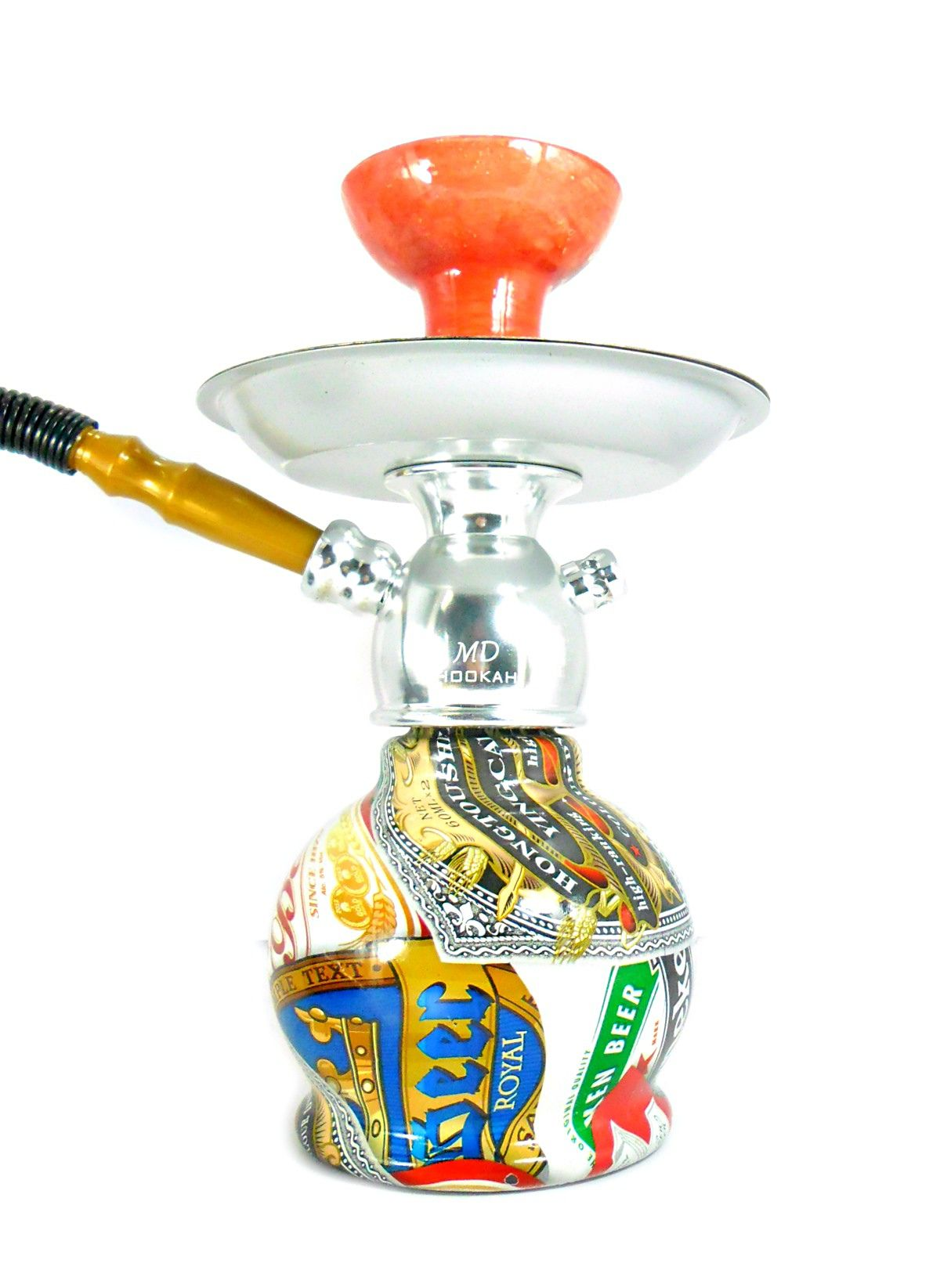 Narguile MD Hookah em alumínio, vaso Ball e prato metálico estampa Beer Label, mangueira Go Hose, rosh cerâmico.