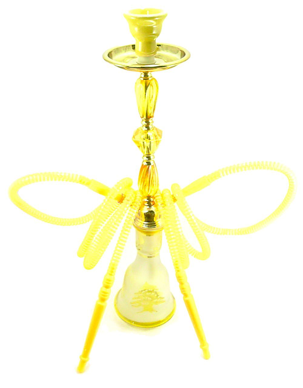 Narguile Md Hookah Grande 55cm. DUAS mangueiras, vidro AMARELO jateado, corpo tom dourado. AB58LAV013