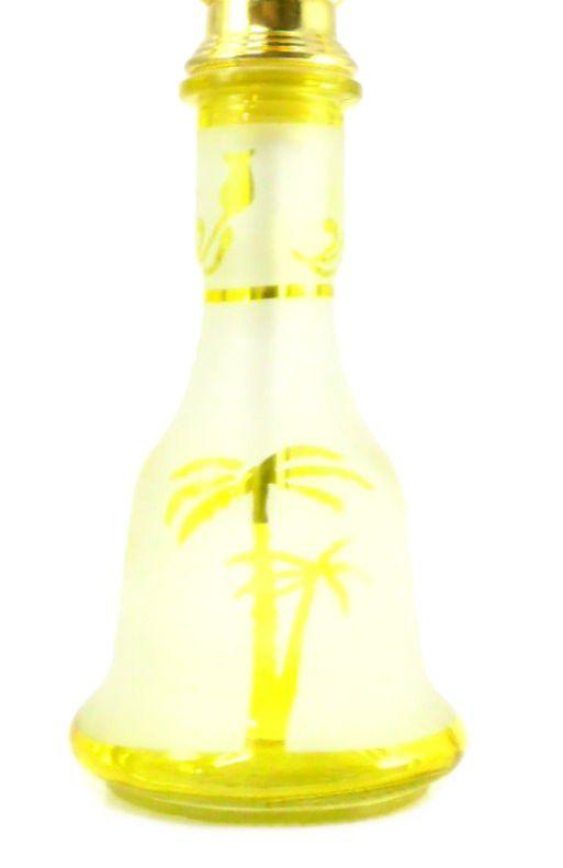 Narguile Md Hookah Grande 55cm. TRÊS mangueiras, vidro AMARELO jateado, corpo tom dourado AB58LAV014