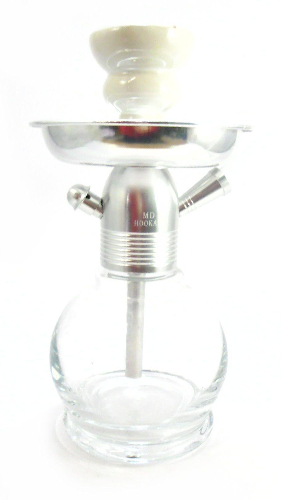 Narguile MD Hookah NEW 26cm CROMADO. Vaso Ball transp., stem usinado em alumínio, pintura anodizada.