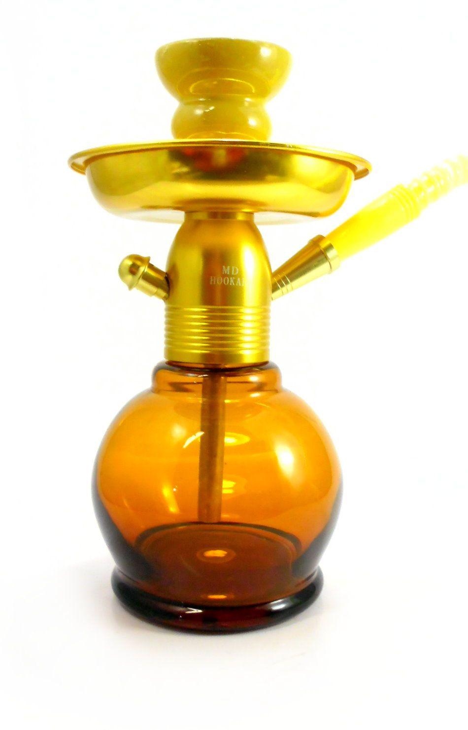 Narguile MD Hookah NEW 26cm DOURADO. Vaso Ball amarelo, stem usinado em alumínio, pintura anodizada.