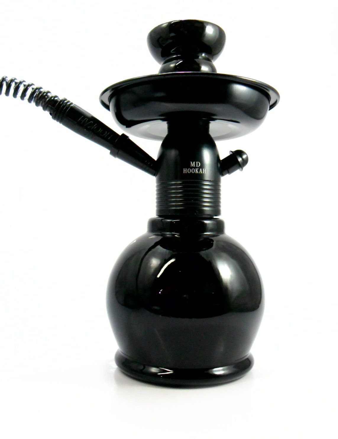 Narguile MD Hookah NEW 26cm PRETO. Vaso Ball PRETO, stem usinado em alumínio, pintura anodizada.