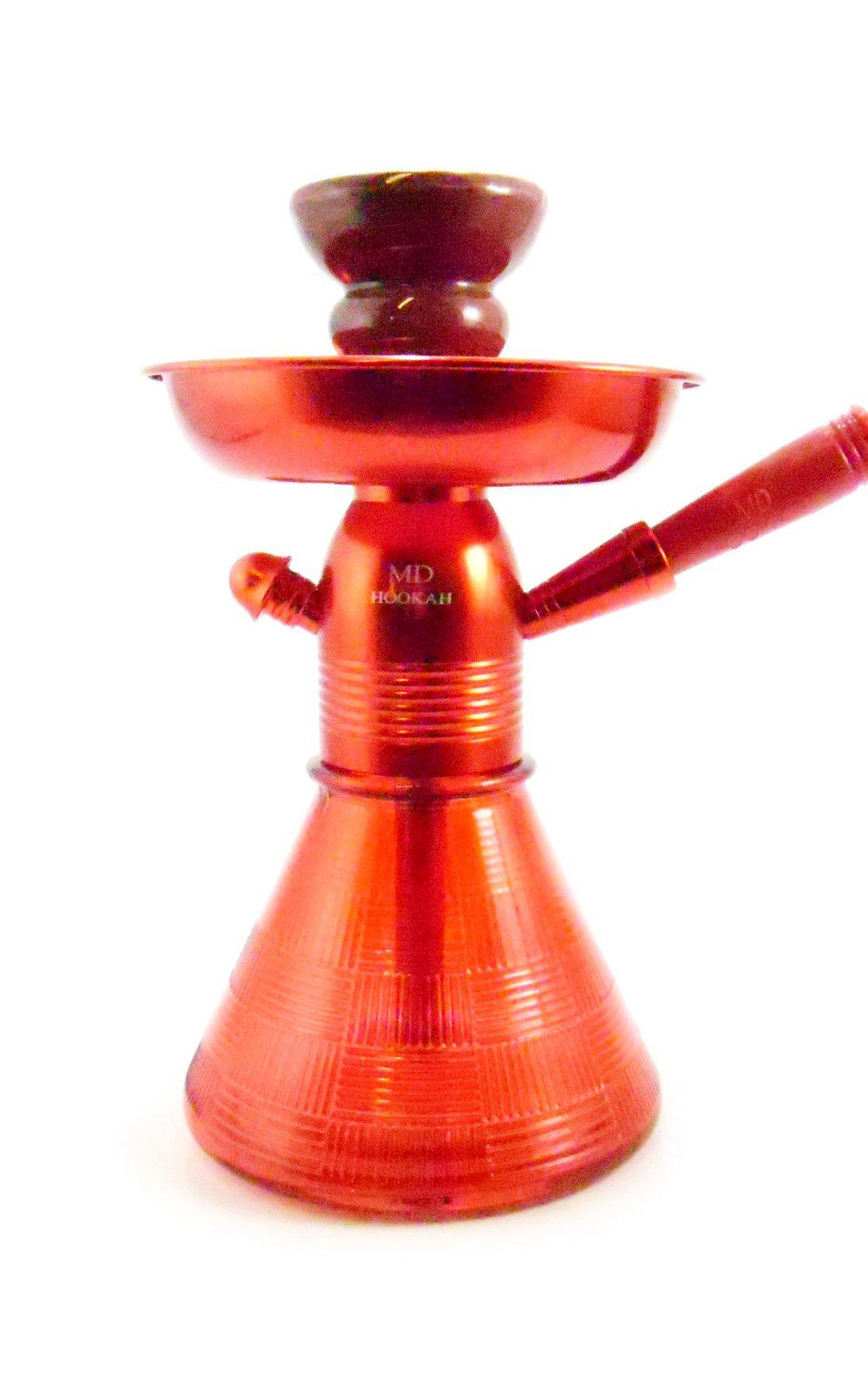Narguile MD Hookah PETIT 23cm. Corpo alumínio anodizado, vaso base larga VERMELHO, mangueira lavável