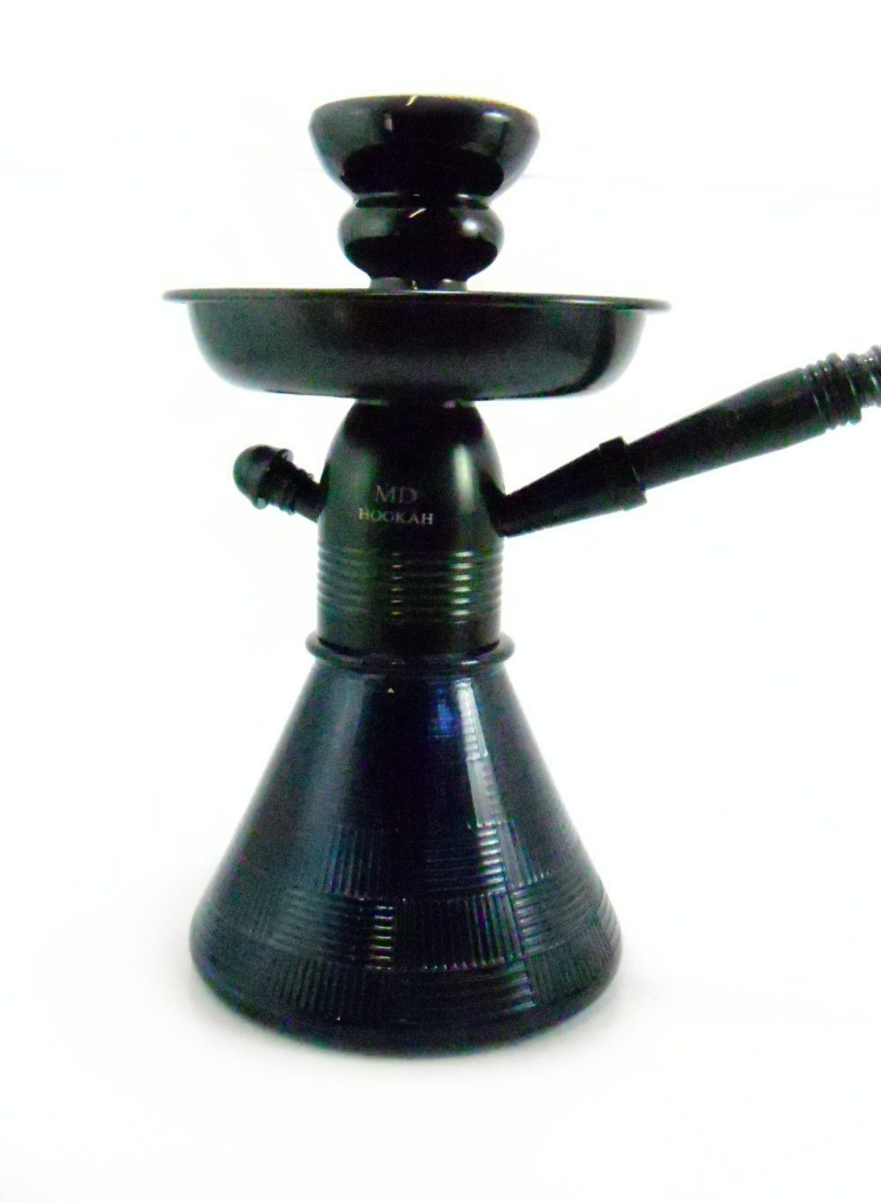 Narguile MD Hookah PETIT 23cm. Corpo em alumínio anodizado, vaso base larga PRETO, mangueira lavável