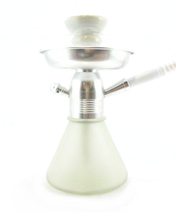 Narguile MD Hookah PETIT 23cm. Em alumínio cor cromado, vaso base larga BRANCO, mangueira lavável.