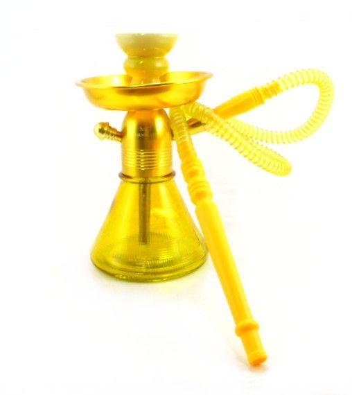 Narguile MD Hookah PETIT 23cm. Em alumínio cor dourado, vaso base larga AMARELO, mangueira lavável.