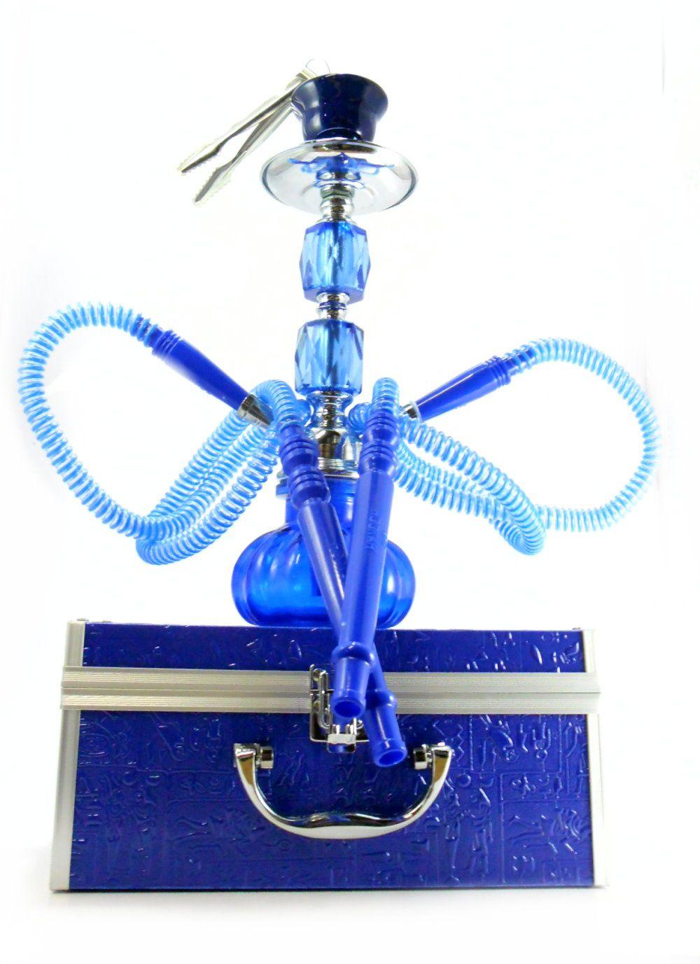 Narguile médio (30cm) de duas mangueiras com MALETA azul, rosh octa,controlador, fogareiro e carvão 1kg.