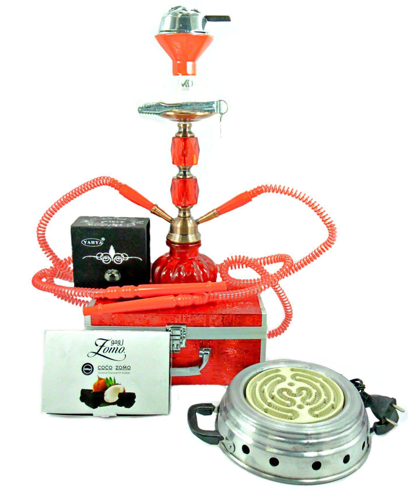 Narguile médio (30cm) de duas mangueiras com MALETA vermelho, rosh MD Bowl, controlador (kaloud), fogareiro e carvão 1kg