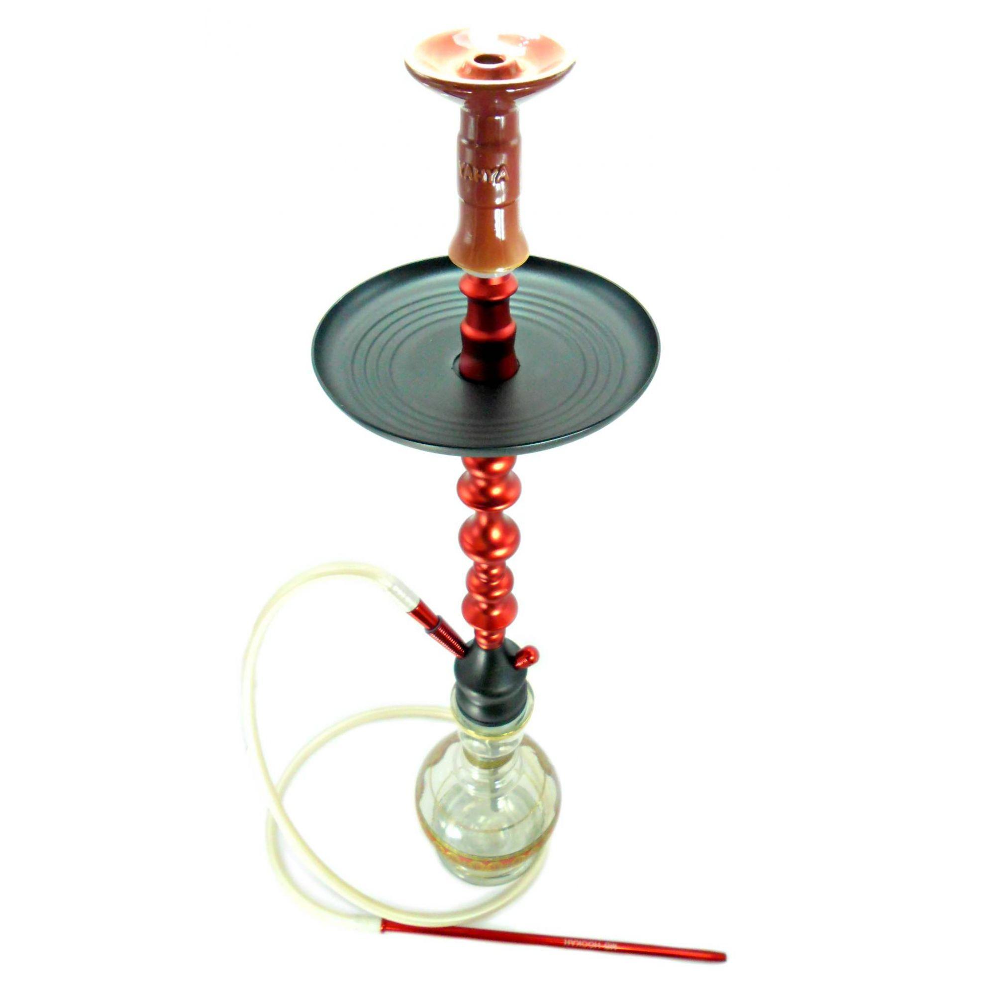 Narguile MG Hookah Vermelho em alumínio 85cm. Vaso Sino listra dour., mangueira silicone, piteira alumínio, rosh funil.
