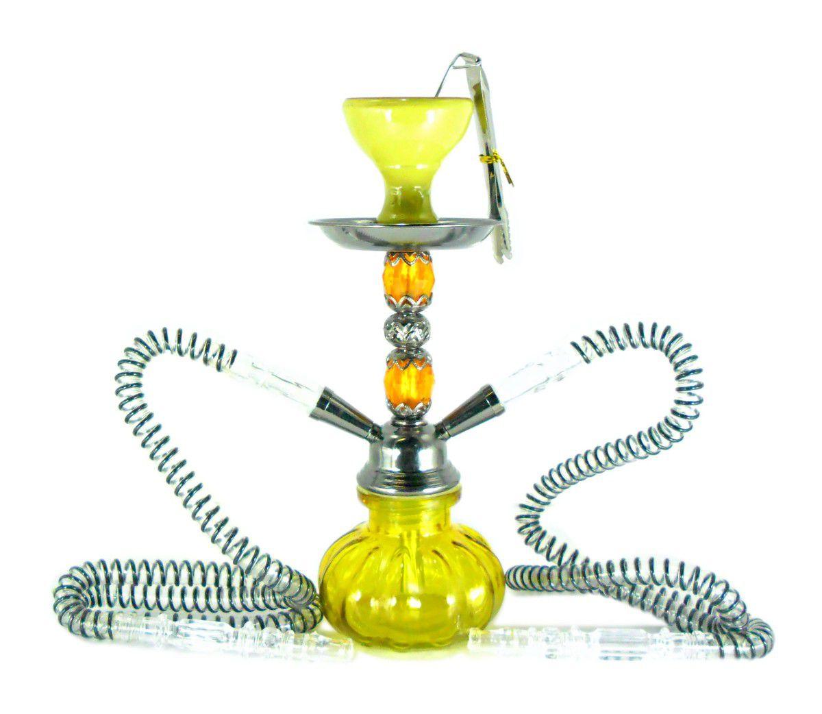 Narguile MOON compacto (29cm), duas mangueiras, vaso vidro AMARELO, corpo PRETO METÁLICO. AT7144AMA