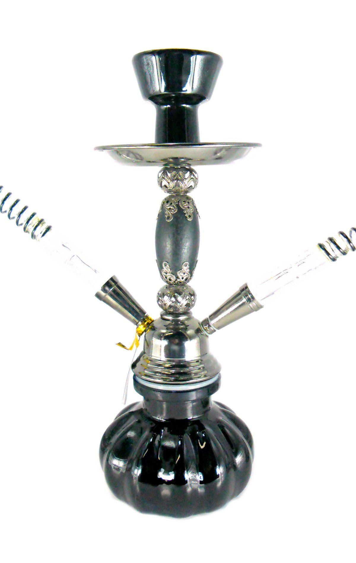 Narguile MOON compacto (29cm), duas mangueiras, vaso vidro PRETO, corpo PRETO METÁLICO. AT7144PRT