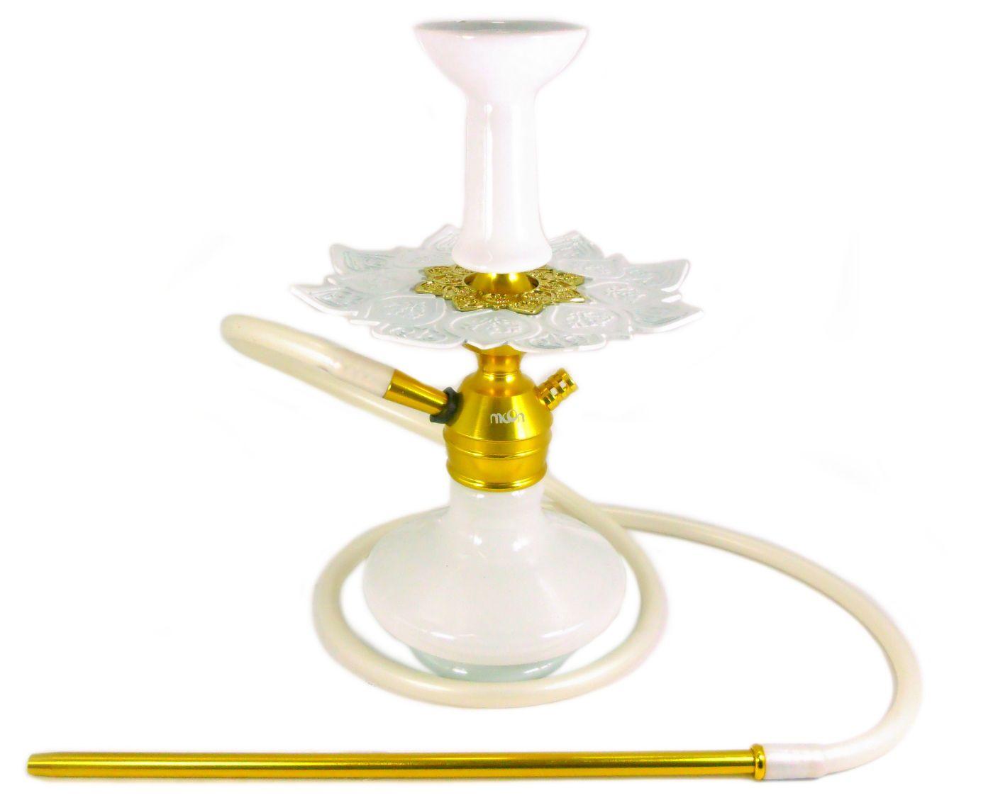 Narguile Moon Dourado, vaso Aladin branco, mang.silicone, piteira alumínio,rosh MD, prato Athenas