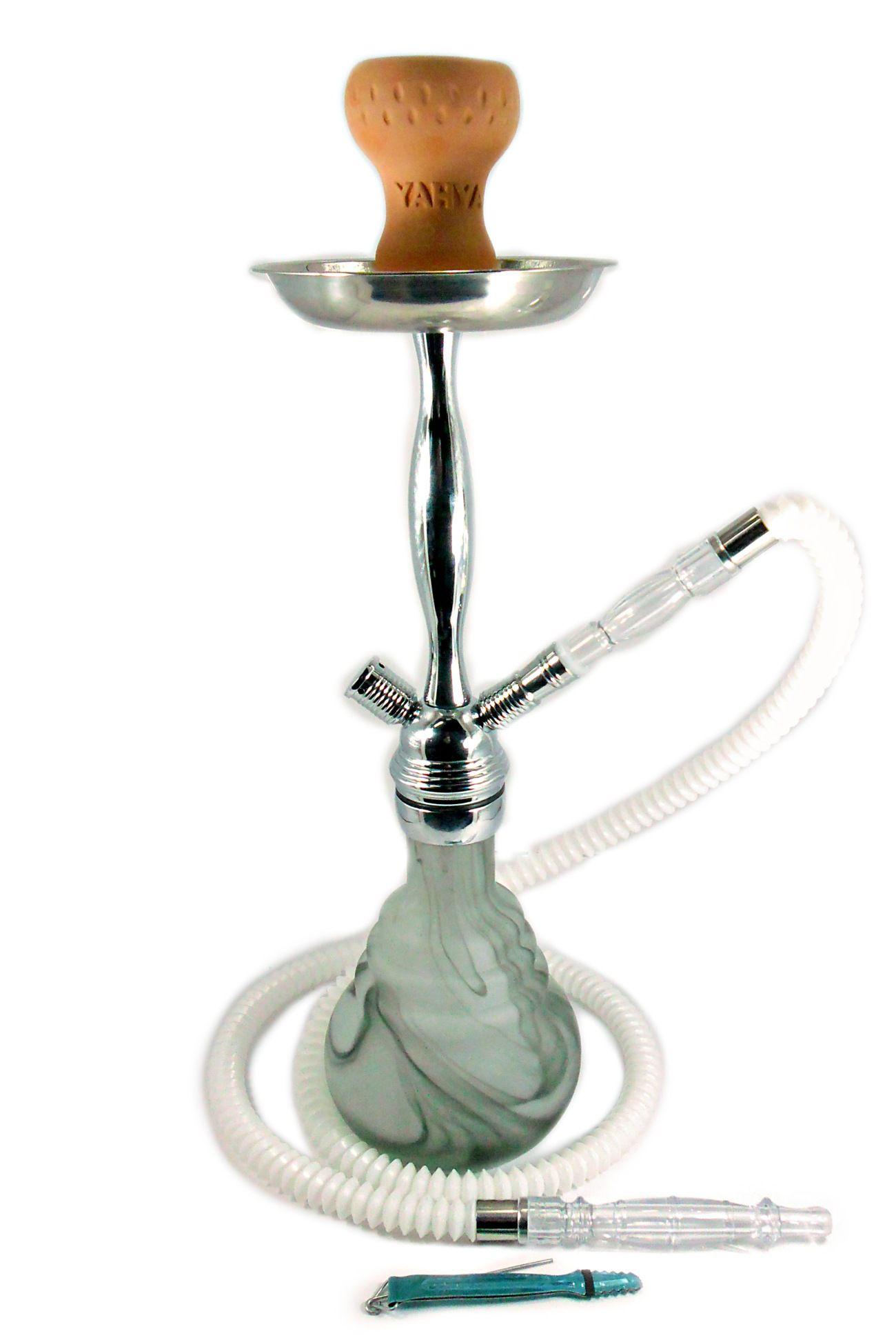 Narguile Premium com corpo em bronze cromado, mangueira extensível e vaso rosquado de vidro tipo Murano BRANCO.
