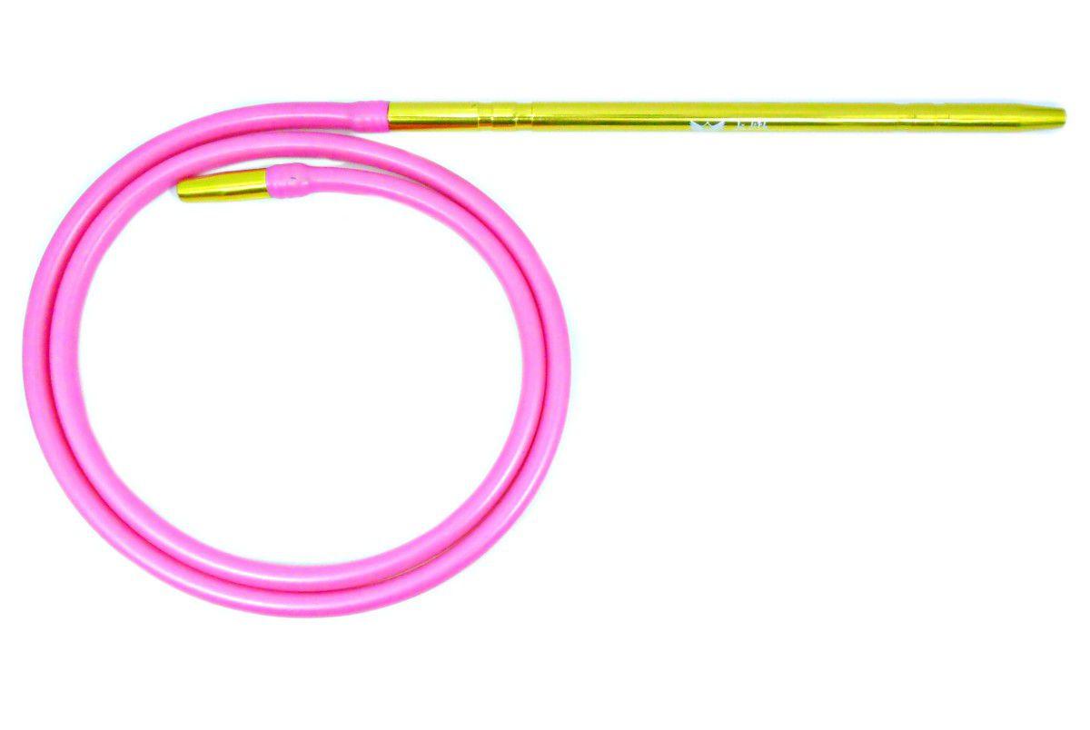 Narguile TRITON ZIP 35cm: Vaso Shisha Glass, fornilho alumínio rosa, Prato Vennus, mang. silicone