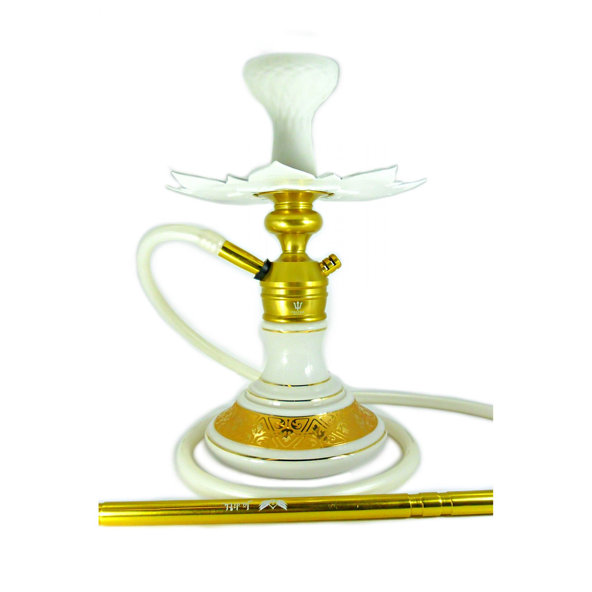 Narguile Triton Zip dourado, rosh silicone, vaso Aladin, mangueira silicone, piteira alumínio, prato Athenas.